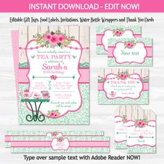 Tea Party Invitation Tea Party Birthday Invitation Shabby Chic