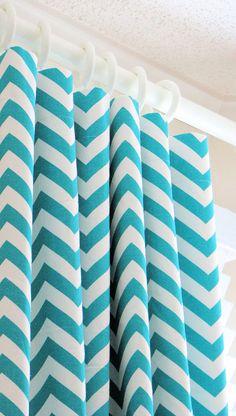 Turquoise chevron curtains