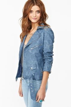 Spiked Moto Jacket - Blue Biker Chic 8159e8ffd5