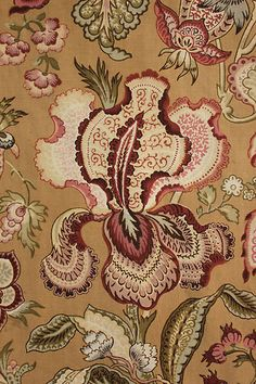 Wonderful Antique French country curtain panel from 19th century ~ lovely floral Indienne design!! gorgeous bed curtain ~ www.textiletrunk.com