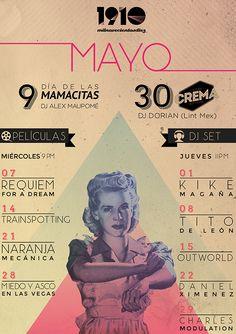 Cartel elaborado por Fortuna Estudio para el bar 1910 en León Gto. #bar #poster #fortuna #estudio #fortunaestudio #typography #1910 #design #mayo #mexican