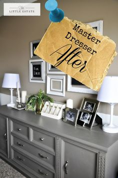 This Little Estate: Master Bedroom Furniture Redo (painting an old dark wood dresser gives it such a modern update)