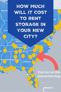 If you're relocating to a new city or state and think a storage unit could help with your transition, find out how much storage units cost in your new city.  #selfstorage #moving #storage Self Storage, Storage Hacks, Storage Facility, Interactive Map, New City, Saving Money, Finding Yourself, The Unit
