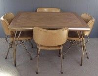 MID CENTURY ATOMIC Dining Table Set With 4 Chairs Offered Is This Very  Unique 1950u2032s Dining Table And 4 Chairs. This Table Is Stamped Walter Of U2026
