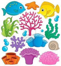 Coral reef theme collection 1 - vector illustration  Stock Photo