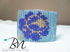 beaded flower glass beadsCustom by LoretaBlueMint Blue Roses, Flower Bracelet, Golden Color, Loom, Glass Beads, Handmade Jewelry, Beaded Bracelets, Flowers, Etsy