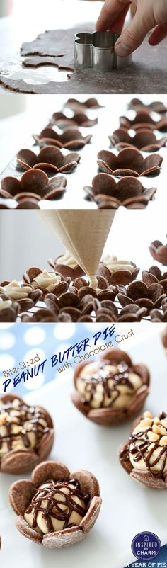 Bite-Sized Peanut Butter Pies with Chocolate Crust - These look just perfect for entertaining! from inspiredbycharm.com
