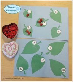 Teaching Montessori- Counting Ladybugs