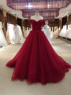 Sexy Off Shoulder Sleeves Prom Dress,Ball Gown Burgundy Prom Dress,Sexy Burgundy Evening Dress FH226 from Ulass