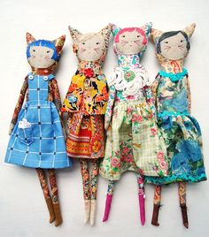 new girls - vintage Liberty fabric dolls by modflowers, available from the Fashion & Textile Museum, London