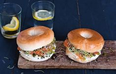 Bagels With Salmon And Sprouts Recipe