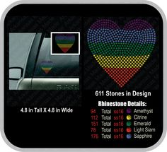 Equality love wins rainbow heart rhinestone car truck decal - pinned by pin4etsy.com
