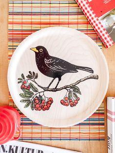 Blackbird & Rowanberries Tray