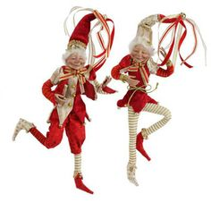 """RAZ Elf Christmas Decoration - PRICED INDIVIDUALLY - CHOOSE STYLE  Red, Gold, White Made of Polyester Measures 18"""" (elves are measured from tip of toe to top of hat outstretched) Not"""