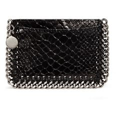 Stella McCartney 'Falabella' chain border snake effect card holder (6.472.795 VND) ❤ liked on Polyvore featuring bags, wallets, black, card carrier wallet, fake bags, stella mccartney bags, chain bag and snake bag