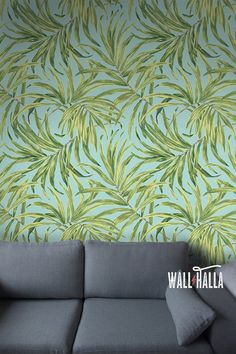 Turn your walls into eyecatchers with this self adhesive wallpaper! This wallpaper features a palm leaf print, bound to stand out on any wall. The natural green colors are featured on a light blue background and look stunning. The self adhesive wallpaper has a vintage flavor and makes quite the impression! > SIZE < The default sizes are designed for your convenience: Half: 24 inches wide x 48 inches tall / 61 cm x 120 Full: 24 inches wide x 96 inches tall / 61 cm x 240 No wall...