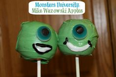 #MonstersUniversity Mike Wazowski Apples .... I think I'd do cake pops instead of apples