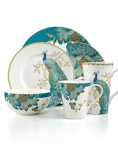 peacock dish sets | 222 Fifth Dinnerware Eliza Teal & Peacock Garden Mix & Match ...