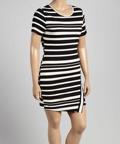 Another great find on #zulily! MINX Black & White Stripe Scoop Neck Dress - Plus by MINX #zulilyfinds