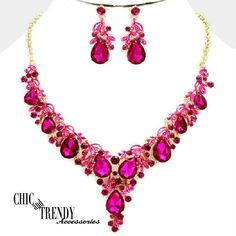 HIGH QUALITY DARK PINK CRYSTAL WEDDING FORMAL CHUNKY NECKLACE JEWELRY SET TRENDY #Unbranded