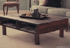 DIY Rustic Pallet Coffee Table - this one looks really well finished, but still totally rustic. she did a great job - LOVE it!