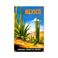 Vintage and Retro Wall Decor - JackandFriends.com - Retro Mexico Cactus  Metal Sign 12 x 18 Inches, $39.97 (http://www.jackandfriends.com/retro-mexico-cactus-metal-sign-12-x-18-inches/)