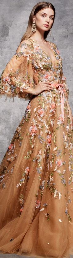 Marchesa Pre-Fall 2018 - sequined, beaded embellishment detail.