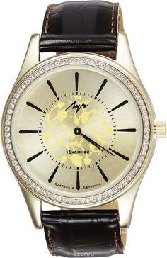 Часы наручные женские Луч, цвет: золотой, темно-коричневый. 378777403
