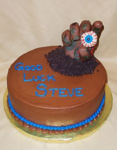 Zombie Cake For a zombie lover. The hand is RKT covered with modeling chocolate. Zombie Food, Zombie Party, Zombie Birthday Cakes, Birthday Ideas, Happy Birthday, Halloween Cakes, Halloween 1, Cupcake Cakes, Cupcake Ideas