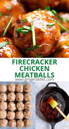 Spicy Chicken Meatballs aka Firecracker meatballs recipe with step-by-step instructions. These spicy and sweet twice-baked chicken meatballs are super easy to make and tastes delicious as an appetizer or in a meal! #meatballs #firecrackerchicken #firecracker #chicken #chickenmeatballs #firecrackermeatballs Firecracker Meatballs, Firecracker Chicken, Baked Chicken Meatballs, Chicken Meatball Recipes, Healthy Meals, Easy Meals, Healthy Recipes, Meat Chickens, High Protein Recipes