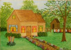 Spring 2014, Country House, Shed, Stone Walk, Flowers, Trees, ACEO Art Card, packrat-2013@ebay