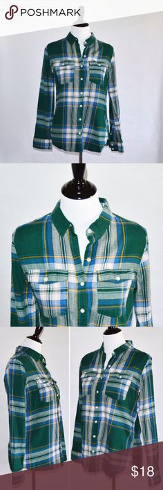 "Green & Blue Plaid Long Sleeves Top Green & Blue Plaid Long Sleeves Top  100% Cotton  Lovely plaid top. Only worn twice. Great condition. Beautiful color.  Measurements Large-Chest:19"" across / 38"" around, Length:26"", Sleeve Length:23""  🔆Bundle 2 items = 10% OFF 🔆Bundle 3 or more = MAKE OFFER ❌ No Trades Mossimo Supply Co. Tops Tees - Long Sleeve"