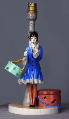 Dressel-Kister-Art-Deco-Flapper-Porcelain-Figurine-Half-Doll-Figural-Box-Lamp
