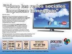 """Taller impartido por María Infante García: """"Cómo las redes sociales impulsan tu negocio"""", que tendrá lugar en Proconsi este jueves 31 de enero a las 20:00 horas. ¡No os lo podéis perder!"""