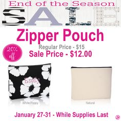 Thirty-One Zipper Pouch is 20% off during End of the Season Sale