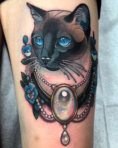 Siamese kitty from my wanna do's, thank so much Caitlin for letting me do this one on you! Dope Tattoos, Badass Tattoos, Body Art Tattoos, Tatoos, Siamese Cat Tattoos, Persian Tattoo, Cat Tattoo Designs, Botanical Tattoo, Ink Master