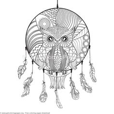 163 Best DreamCatcher Coloring Pages for Adults images in