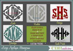 "Large Applique Monogram designs for pillow covers and euro shams at CDHmade.  Several designs grow to 11"" high. www.CDHmade.com"