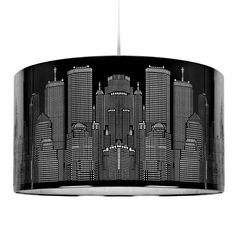 New York Skyline Modern Gloss Black Ceiling Pendant Light/ Lamp shade