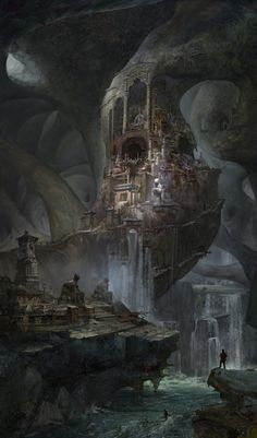 Discover the underground city, Ze Pan ArtStation - Discover the underground city, Ze Pan Fantasy City, Fantasy Castle, Fantasy Places, Fantasy Kunst, High Fantasy, Fantasy World, Fantasy Art Landscapes, Fantasy Landscape, Landscape Art