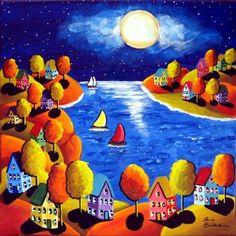 Fall Night Sailboats Houses Full Moon Whimsical Colorful Original Folk Art Painting via Etsy