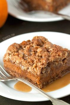 These pumpkin pie streusel bars are gluten-free and made with oats an oat flour, making them 100% whole grain!