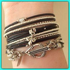 Boho Bracelet Wrap Bracelet Endless Black Leather by DesignsbyNoa