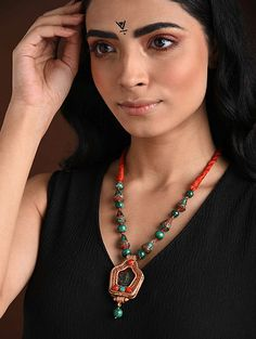 Buy The Stone Age Parampara Elevate your look with spectacular silver-tone stone-beaded jewelry for over-the-top statement Online at Jaypore.com Coral And Gold, Coral Turquoise, Turquoise Necklace, Fashion Jewelry Necklaces, Beaded Jewelry, Shopping Coupons, Backpack Brands, Stone Age, Necklace Online