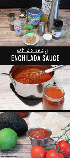 Enchilada Sauce pin | 2CookinMamas Want enchiladas tonight? This sauce is so easy you can put it together in a matter of minutes. Not only that, it tastes fresh & delicious, so much better than store bought! And you can use it as a salsa too!