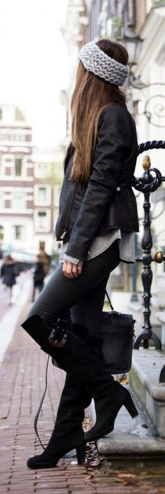 Fall Street Style - knitted headband- leather jacket