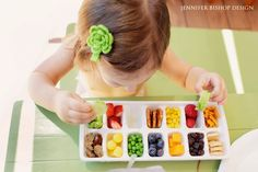 First 5 California has a fun tip for feeding picky toddlers: Try using an ice tray to satisfy their bird-like appetites and for a fun, unique presentation. Be sure to throw in plenty of healthy choices like berries, peas, corn, cheese, cucumber, etc.  Photo via Jennifer Bishop Design.