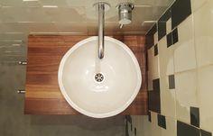 Handmade countertop basin, 35 cm diameter mounted on custom walnut countertop. Walnut Countertop, Countertop Basin, Basin Sink, Sinks, Countertops, Handmade Tiles, House, Home Decor, Vanity Tops