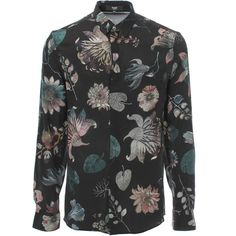 Versus Versace Aquarello Print Silk Shirt ($210) ❤ liked on Polyvore featuring men's fashion, men's clothing, men's shirts, men's casual shirts, men, shirts, tops, mens floral shirt, mens collared shirts and flower print mens shirt