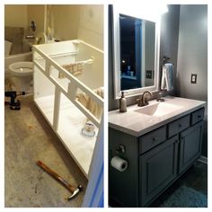 Guest bath before and after.  This is a standard builders grade vanity cabinet. I cut the bottom off, put on a new base, trim, legs and repainted then glazed the edges. The top and faucet are from Lowe's. Large 16X16 tile. A simple mirror from Home Goods and the light fixture from Amazon. All in all, less than less than $500 for the whole room.